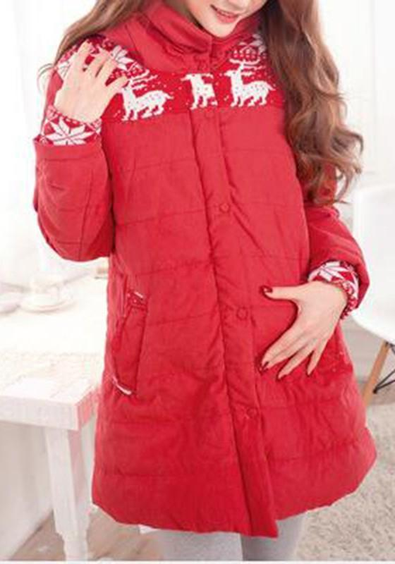 Red Floral Pockets Hooded Long Sleeve Maternity Coat