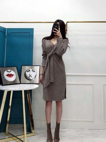 New Grey Belt Long Sleeve Deep V-neck Casual Midi Dress