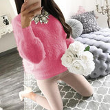 Rose Carmine Round Neck Long Sleeve Casual Pullover Sweater
