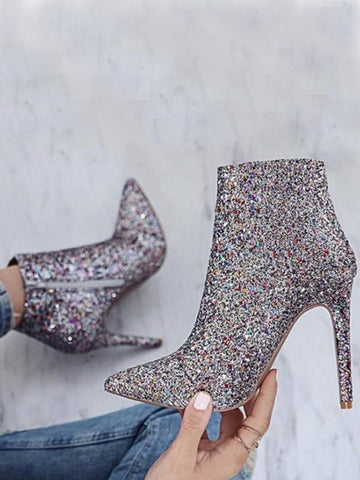 Silver Point Toe Stiletto Sequin Fashion Ankle Boots