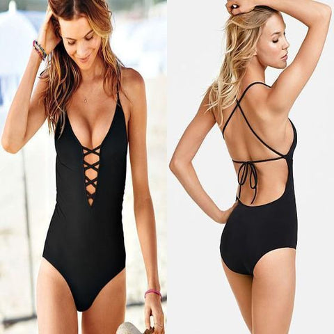 Black Hollow-out Tie Back Cross Back Spaghetti Strap One Piece Swimwear