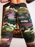New Army Green Camouflage Pleated High Waisted Peach Heart Sports Yoga Long Legging
