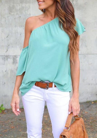 Light Blue Irregular Short Sleeve Casual Blouse