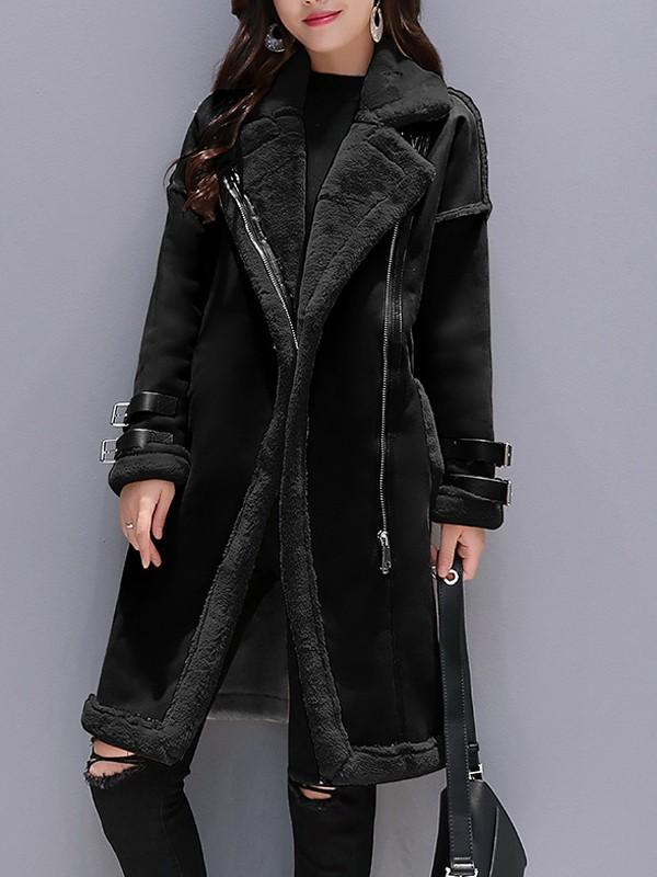 New Black Patchwork Fur Pockets Zipper Turndown Collar Long Sleeve Elegant Coat