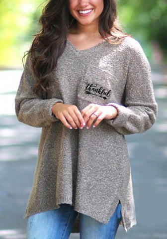 Khaki Monogram Print Irregular Pockets High-low Slit Sparkly Long Sleeve Oversized Pullover Sweater