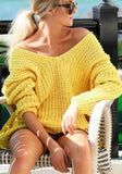 Yellow Asymmetric Shoulder V-neck Multi Way Oversize Casual Going out Pullover Sweater