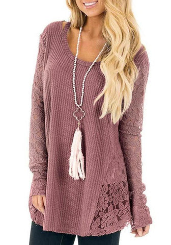 Pink Patchwork Lace Round Neck Long Sleeve Casual Pullover Sweater