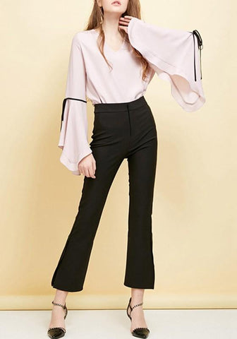 Pink Bow Ruffle V-neck Long Sleeve Elegant T-Shirt