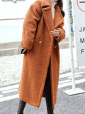 New Khaki Pockets Turndown Collar Long Sleeve Fashion Coat