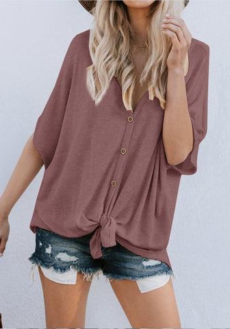 Burgundy Single Breasted V-neck Casual Going out Blouse