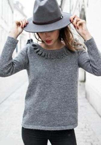 Grey Ruffle Backless Round Neck Long Sleeve Casual T-Shirt