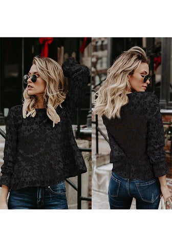 Black Lace Round Neck Long Sleeve Fashion T-Shirt
