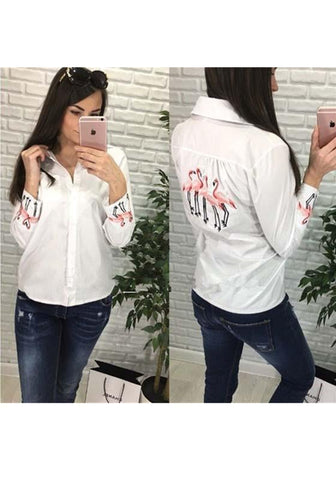 White Animal Single Breasted Turndown Collar Long Sleeve Fashion Blouse