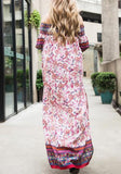 Red Floral Print Draped Off Shoudler Slit Half Sleeve Bohemian Maxi Dress