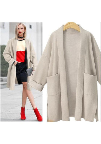 Khaki Pockets Double Slit Long Sleeve Cardigan Trench Coat