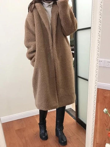 New Khaki Pockets Tailored Collar Long Sleeve Fashion Coat