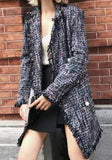 Grey Draped Beading Turndown Collar Long Sleeve Fashion Coat