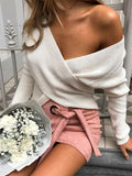 New White Print Cut Out V-neck Long Sleeve V-neck Pullover Sweater