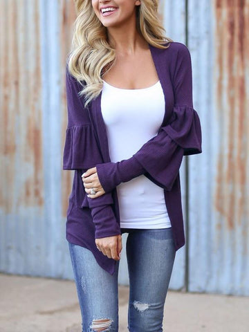New Purple Cascading Ruffle Long Sleeve Casual Outerwear
