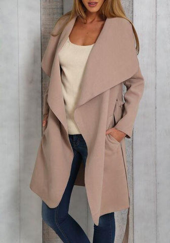 Apricot Sashes Pockets Turndown Collar Long Sleeve Casual Coat