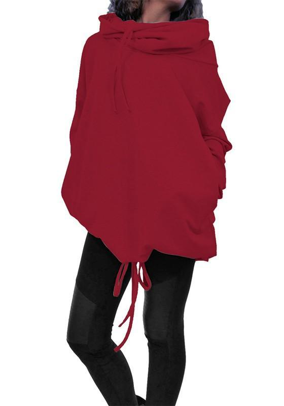 Red Drawstring Pockets High Neck Casual Batwing Pullover Sweatshirt