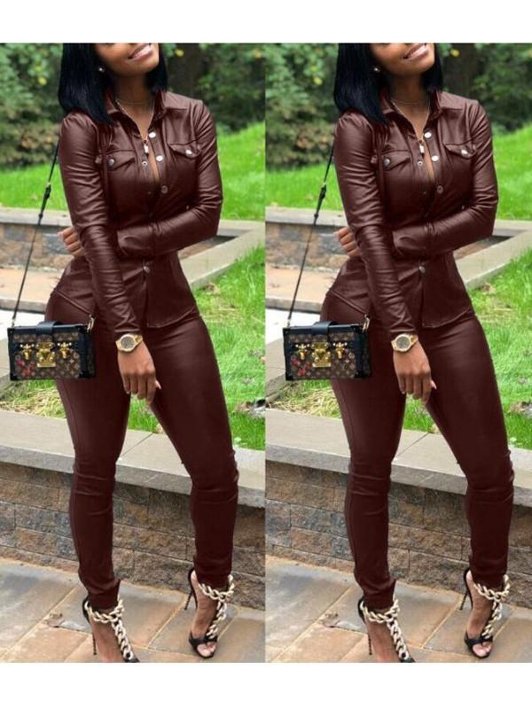 New Burgundy Single Breasted Pockets PU Leather Turndown Collar Plus Size Casual Long Jumpsuit