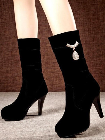 New Black Round Toe Stiletto Rhinestone Fashion Mid-Calf Boots
