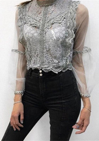 Grey Patchwork Lace Grenadine Round Neck Long Sleeve Fashion Blouse