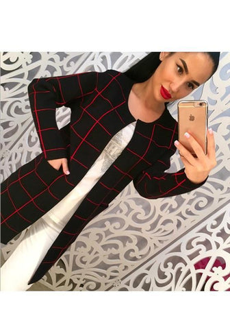 Black Plaid Pockets Long Sleeve Fashion Cardigan Sweater