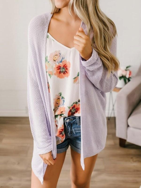 Purple Comfy Long Sleeve Honey Girl Outerwear