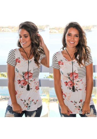 White Floral Pocket Striped Round Neck Short Sleeve T-Shirt