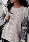 New Apricot Patchwork Print Round Neck Long Sleeve Oversize Pullover Sweater