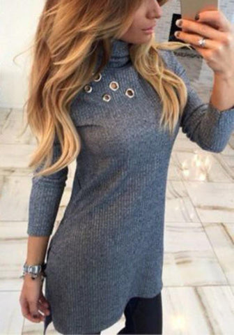 Grey Plain Cut Out High Neck Fashion Pullover Sweater