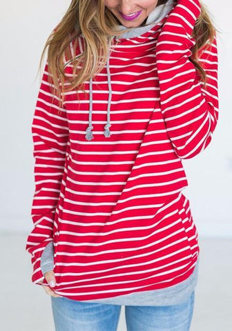 Red Striped Drawstring Pockets Zipper Long Sleeve Hooded Sweatshirt