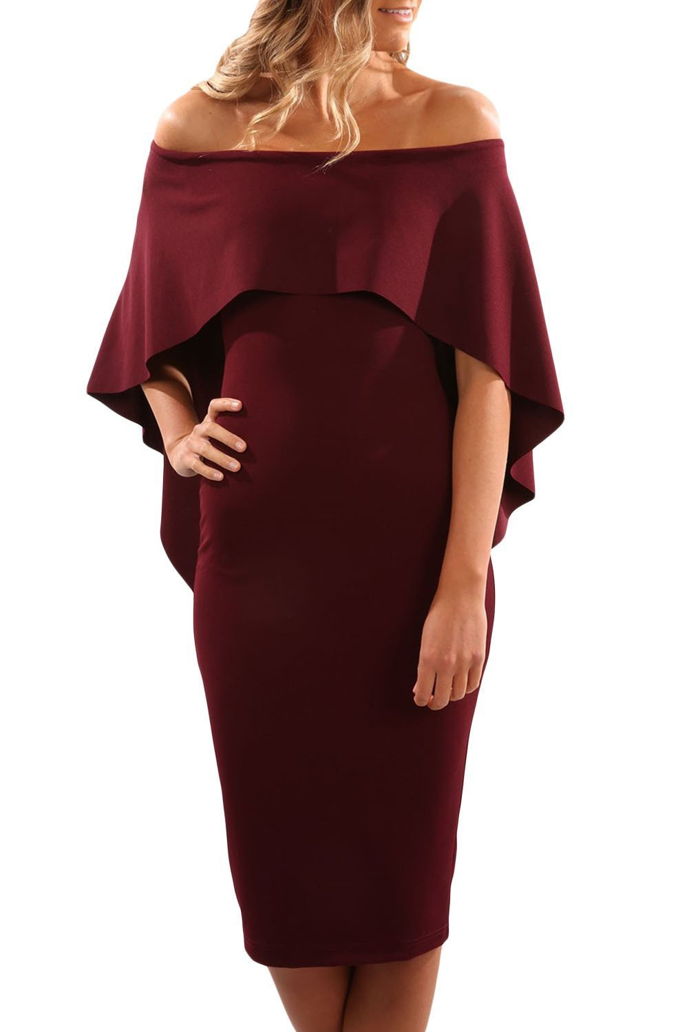 Fashion Onlinechoic Burgundy Luxurious Off Shoulder Batwing Cape Midi Dress