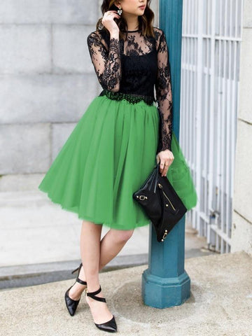 New Green Draped Pleated Grenadine High Waisted Elegant Skirt