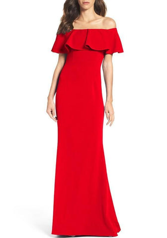 Red Zipper Falbala Irregular Off Shoulder Elegant Maxi Dress