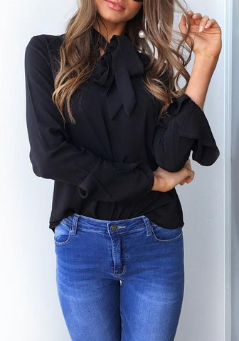Black Cut Out Irregular Lace-up Flutter Sleeve Fashion Blouse