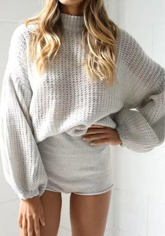 Grey High Neck Lantern Sleeve Fashion Pullover Sweater