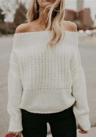 White Braid Off Shoulder Slouchy Long Sleeve Fashion Pullover Sweater