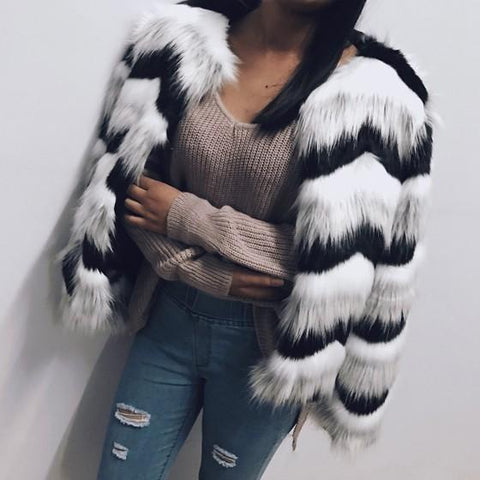 White-Black Striped Round Neck Long Sleeve Fashion Winter Faux Fur Coat