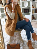Brown Patchwork Faux Fur Sleeveless Fashion Outerwear