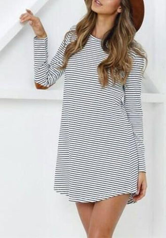 Black-White Striped Print Irregular Round Neck Long Sleeve Casual T-Shirt