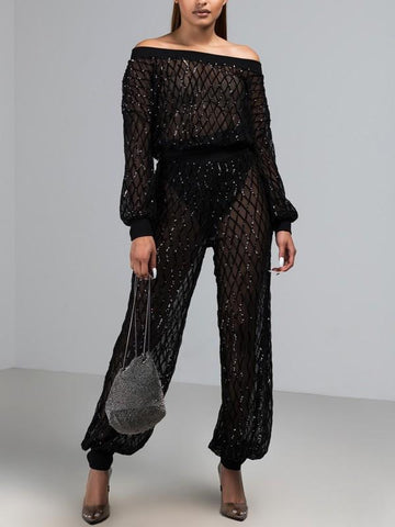 Black Patchwork Grenadine Sequin Off Shoulder Two Piece Sparkly Glitter Birthday Sheer Party Long Jumpsuit