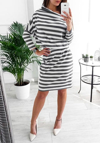 New Black Striped Belt Off Shoulder Boat Neck Long Sleeve Mini Dresses