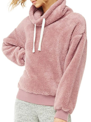 Pink Patchwork Drawstring High Neck Casual Sweatshirt