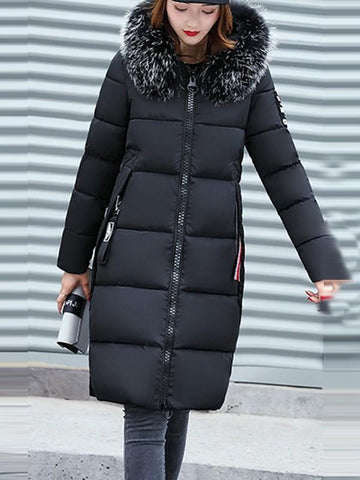 New Black Patchwork Monogram Fur Pockets Zipper Hooded Long Sleeve Casual Coat