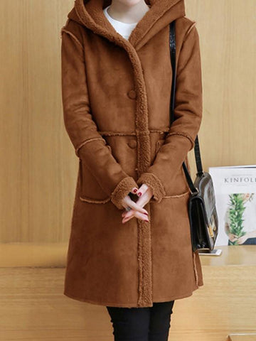Camel Pockets Single Breasted Hooded Long Sleeve Casual Coat