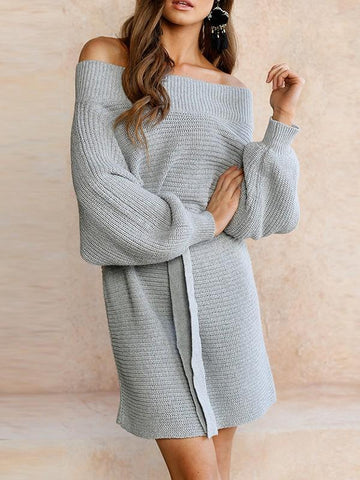 Grey Plain Sashes Off Shoulder Dolman Sleeve Going out Mini Dress