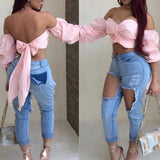 Pink Drawstring Crop Boat Neck Elbow Sleeve Sweet Blouse